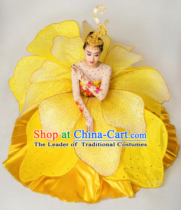 Chinese Classic Stage Performance Dance Costumes, Opening Dance Folk Dance Classic Big Swing Yellow Dress for Women