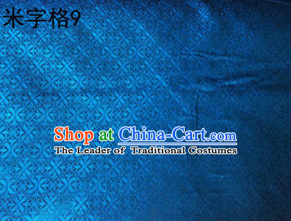 Asian Chinese Traditional Embroidery Intersected Figure Blue Satin Silk Fabric, Top Grade Brocade Tang Suit Hanfu Dress Fabric Cheongsam Mattress Cloth Material