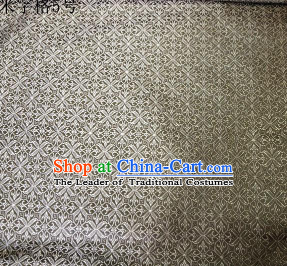 Asian Chinese Traditional Embroidery Intersected Figure Grey Satin Silk Fabric, Top Grade Brocade Tang Suit Hanfu Dress Fabric Cheongsam Mattress Cloth Material