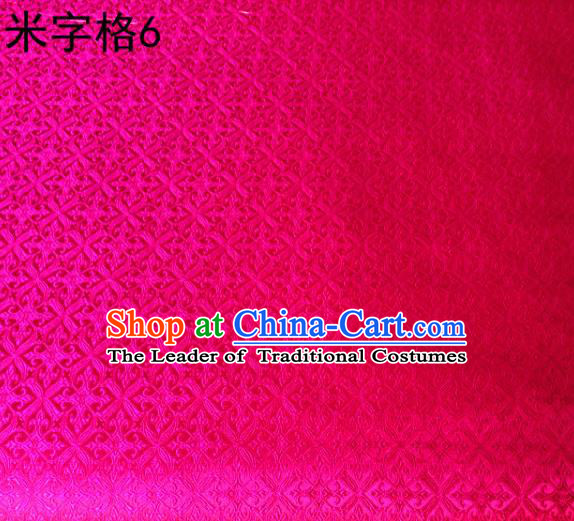 Asian Chinese Traditional Embroidery Intersected Figure Rosy Satin Silk Fabric, Top Grade Brocade Tang Suit Hanfu Dress Fabric Cheongsam Mattress Cloth Material