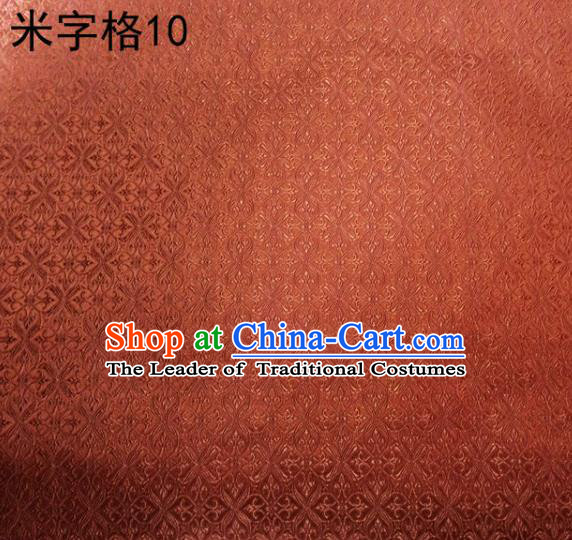 Asian Chinese Traditional Embroidery Intersected Figure Orange Satin Silk Fabric, Top Grade Brocade Tang Suit Hanfu Dress Fabric Cheongsam Mattress Cloth Material