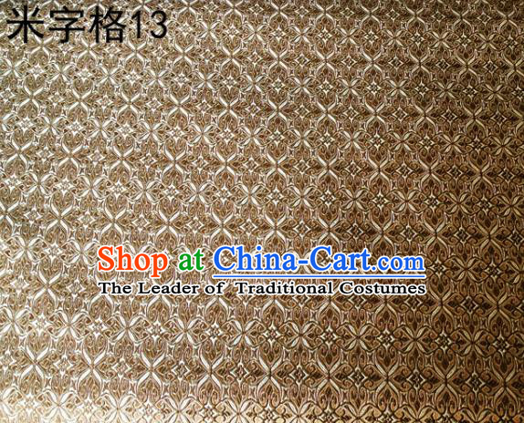 Asian Chinese Traditional Embroidery Intersected Figure Brown Satin Silk Fabric, Top Grade Brocade Tang Suit Hanfu Dress Fabric Cheongsam Mattress Cloth Material