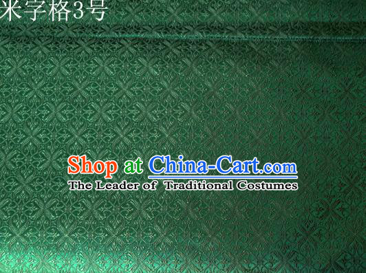 Asian Chinese Traditional Embroidery Intersected Figure Green Satin Silk Fabric, Top Grade Brocade Tang Suit Hanfu Dress Fabric Cheongsam Mattress Cloth Material
