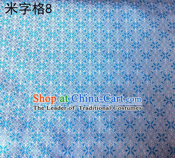 Asian Chinese Traditional Embroidery Intersected Figure Light Blue Satin Silk Fabric, Top Grade Brocade Tang Suit Hanfu Dress Fabric Cheongsam Mattress Cloth Material