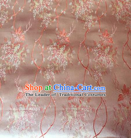 Asian Chinese Traditional Embroidery Maple Leaf Pink Satin Silk Fabric, Top Grade Brocade Tang Suit Hanfu Princess Dress Fabric Cheongsam Mattress Cloth Material