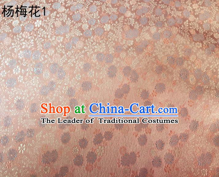Asian Chinese Traditional Embroidery Waxberry Flowers Pink Satin Silk Fabric, Top Grade Brocade Tang Suit Hanfu Princess Dress Fabric Cheongsam Mattress Cloth Material