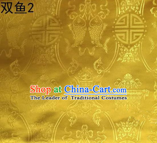 Asian Chinese Traditional Embroidery Longevity Golden Satin Silk Fabric, Top Grade Brocade Tang Suit Hanfu Princess Dress Fabric Cheongsam Mattress Cloth Material