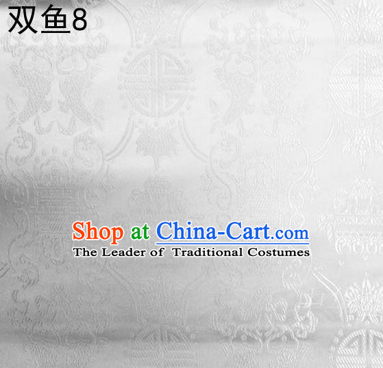 Asian Chinese Traditional Embroidery Longevity White Satin Silk Fabric, Top Grade Brocade Tang Suit Hanfu Princess Dress Fabric Cheongsam Mattress Cloth Material