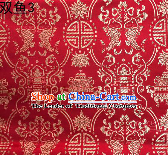 Asian Chinese Traditional Embroidery Golden Longevity Red Satin Silk Fabric, Top Grade Brocade Tang Suit Hanfu Princess Dress Fabric Cheongsam Mattress Cloth Material