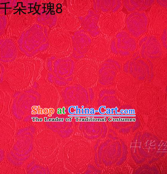 Asian Chinese Traditional Jacquard Weave Rose Flowers Red Satin Mulberry Silk Fabric, Top Grade Brocade Tang Suit Hanfu Princess Dress Fabric Cheongsam Cloth Material