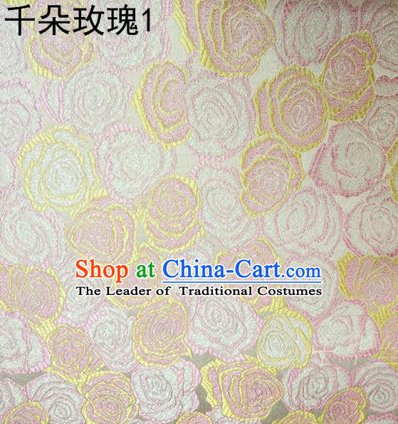Asian Chinese Traditional Jacquard Weave Rose Flowers Pink Satin Mulberry Silk Fabric, Top Grade Brocade Tang Suit Hanfu Princess Dress Fabric Cheongsam Cloth Material