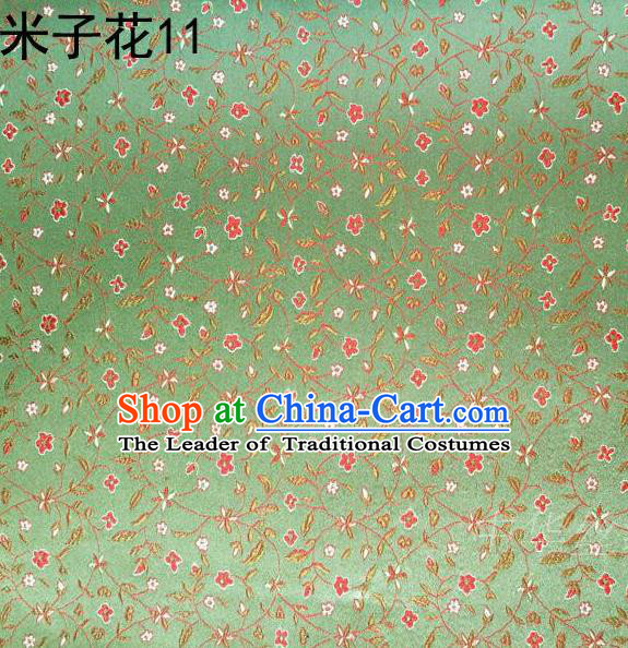 Asian Chinese Traditional Embroidered Shivering Floral Light Green Satin Mulberry Silk Fabric, Top Grade Brocade Tang Suit Hanfu Princess Dress Fabric Cheongsam Cloth Material