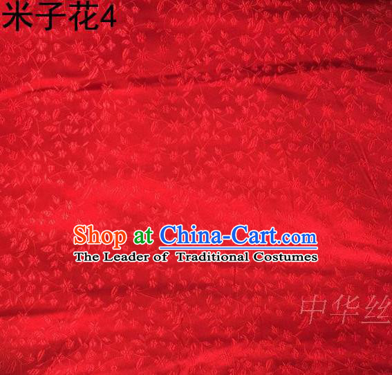 Asian Chinese Traditional Embroidered Shivering Floral Red Satin Silk Fabric, Top Grade Brocade Tang Suit Hanfu Princess Dress Fabric Cheongsam Cloth Material
