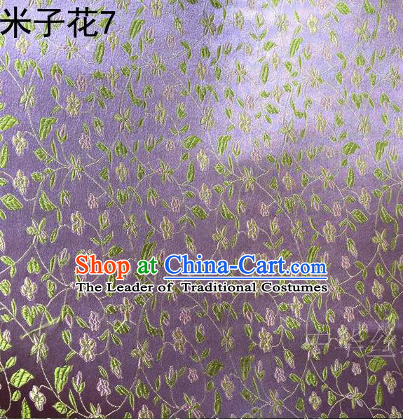 Asian Chinese Traditional Embroidered Shivering Floral Purple Satin Silk Fabric, Top Grade Brocade Tang Suit Hanfu Princess Dress Fabric Cheongsam Cloth Material