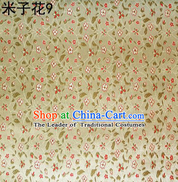 Asian Chinese Traditional Embroidered Shivering Floral Yellow Satin Silk Fabric, Top Grade Brocade Tang Suit Hanfu Princess Dress Fabric Cheongsam Cloth Material