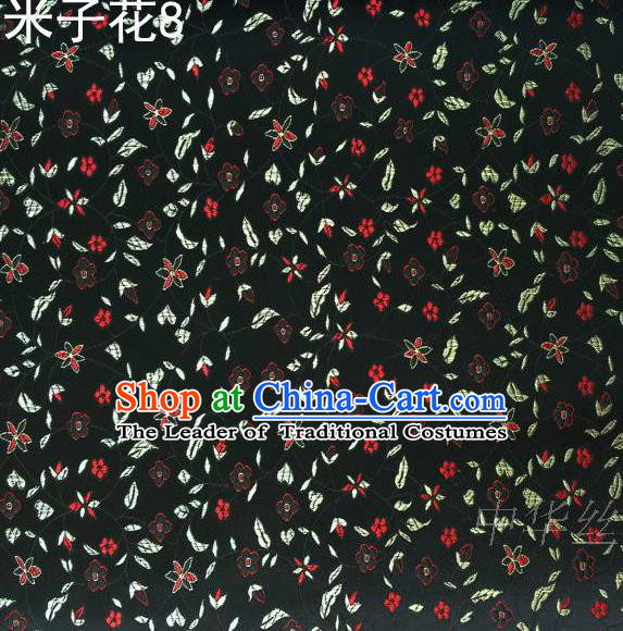 Asian Chinese Traditional Embroidered Shivering Floral Black Satin Silk Fabric, Top Grade Brocade Tang Suit Hanfu Princess Dress Fabric Cheongsam Cloth Material