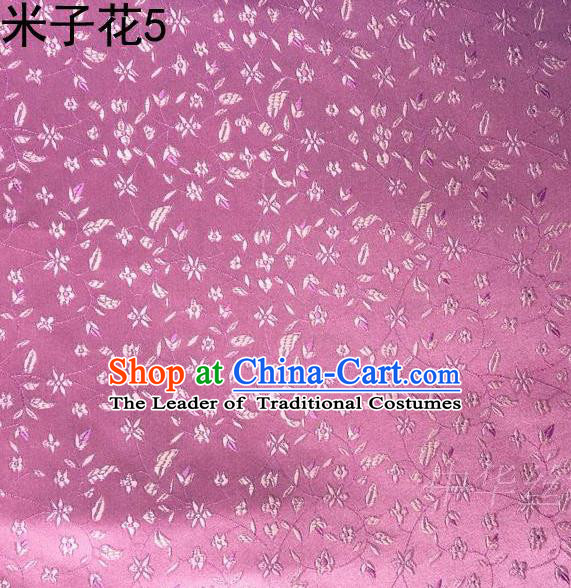 Asian Chinese Traditional Embroidered Shivering Floral Pink Satin Silk Fabric, Top Grade Brocade Tang Suit Hanfu Princess Dress Fabric Cheongsam Cloth Material