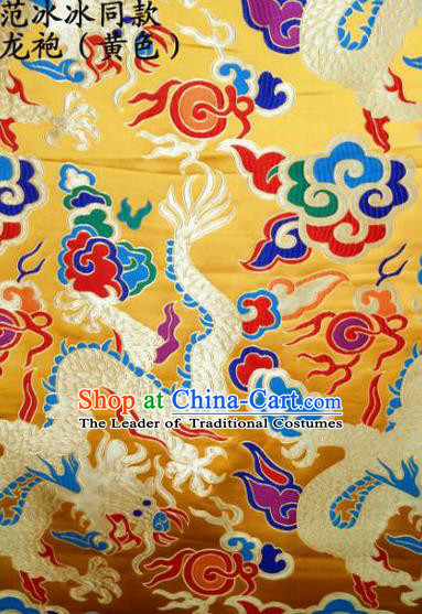 Asian Chinese Traditional Embroidered Dragon Golden Satin Silk Fabric, Top Grade Brocade Tang Suit Hanfu Dragon Robes Dress Fabric Cheongsam Cloth Material