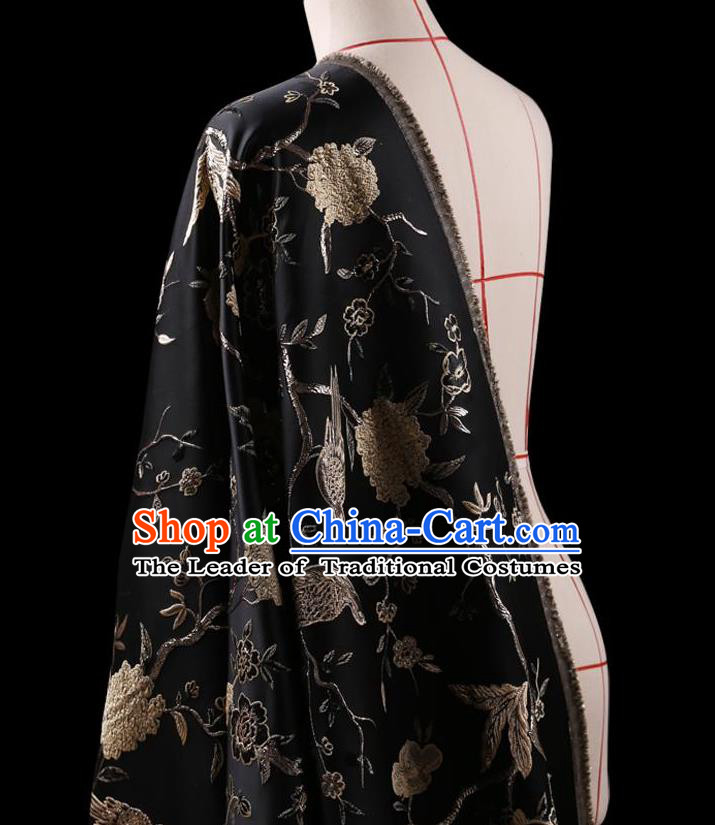 Asian Chinese Traditional Jacquard Weave Black Satin Silk Fabric, Top Grade Brocade Tang Suit Hanfu Coat Dress Fabric Cheongsam Cloth Material