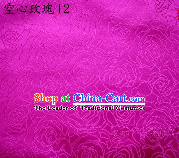 Asian Chinese Traditional Jacquard Weave Rose Flowers Rosy Satin Silk Fabric, Top Grade Brocade Tang Suit Hanfu Coat Dress Fabric Cheongsam Cloth Material