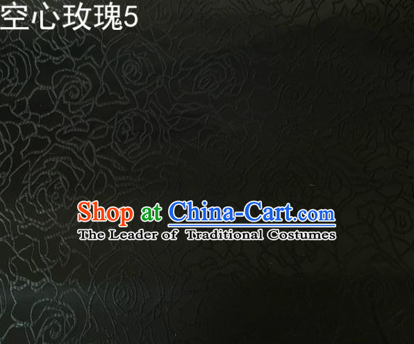 Asian Chinese Traditional Jacquard Weave Rose Flowers Black Satin Silk Fabric, Top Grade Brocade Tang Suit Hanfu Coat Dress Fabric Cheongsam Cloth Material