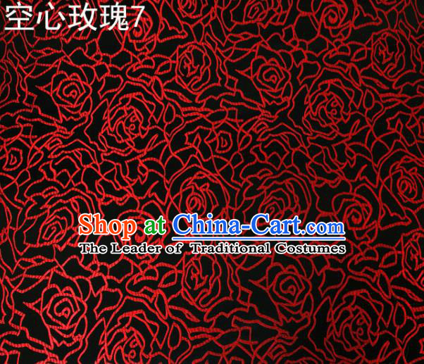 Asian Chinese Traditional Jacquard Weave Embroidered Red Rose Flowers Black Satin Silk Fabric, Top Grade Brocade Tang Suit Hanfu Coat Dress Fabric Cheongsam Cloth Material