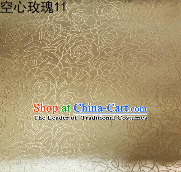 Asian Chinese Traditional Jacquard Weave Embroidered Rose Flowers Golden Satin Silk Fabric, Top Grade Brocade Tang Suit Hanfu Coat Dress Fabric Cheongsam Cloth Material