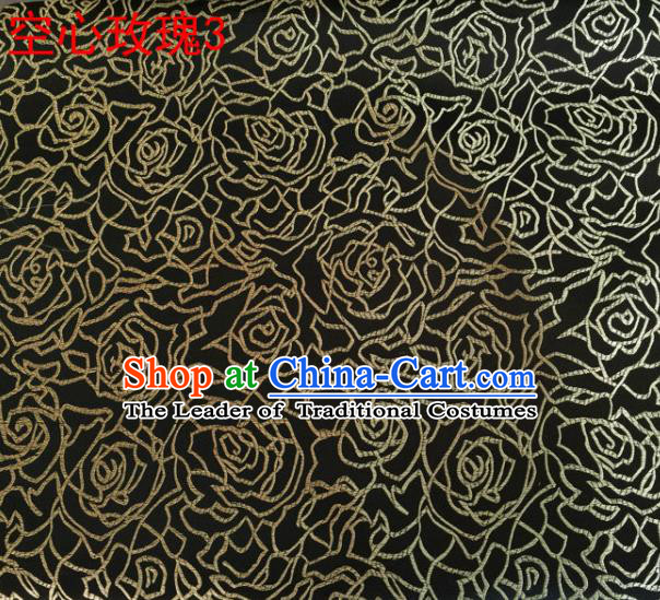 Asian Chinese Traditional Jacquard Weave Embroidered Golden Rose Flowers Black Satin Silk Fabric, Top Grade Brocade Tang Suit Hanfu Coat Dress Fabric Cheongsam Cloth Material