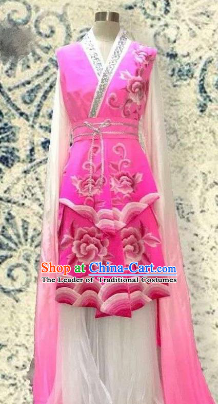 Traditional Chinese Ancient Dance Pink Costume, Folk Dance Chinese Classical Dance Water Sleeve Dress for Women