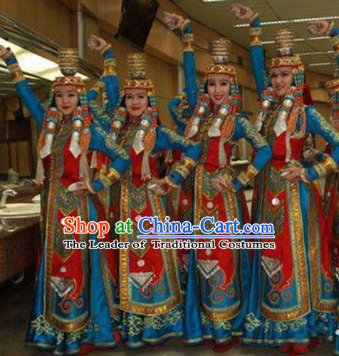 Traditional Chinese Mongol Nationality Dancing Costume, Mongols Female Folk Dance Ethnic Pleated Skirt, Chinese Mongolian Minority Nationality Embroidery Costume for Women