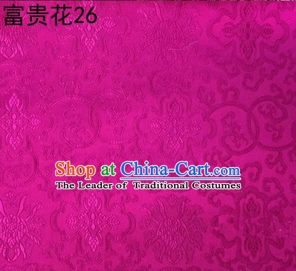 Asian Chinese Traditional Riches and Honour Flowers Embroidered Rosy Silk Fabric, Top Grade Arhat Bed Brocade Satin Tang Suit Hanfu Dress Fabric Cheongsam Cloth Material