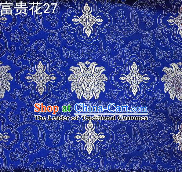 Asian Chinese Traditional White Riches and Honour Flowers Embroidered Royalblue Silk Fabric, Top Grade Arhat Bed Brocade Satin Tang Suit Hanfu Dress Fabric Cheongsam Cloth Material