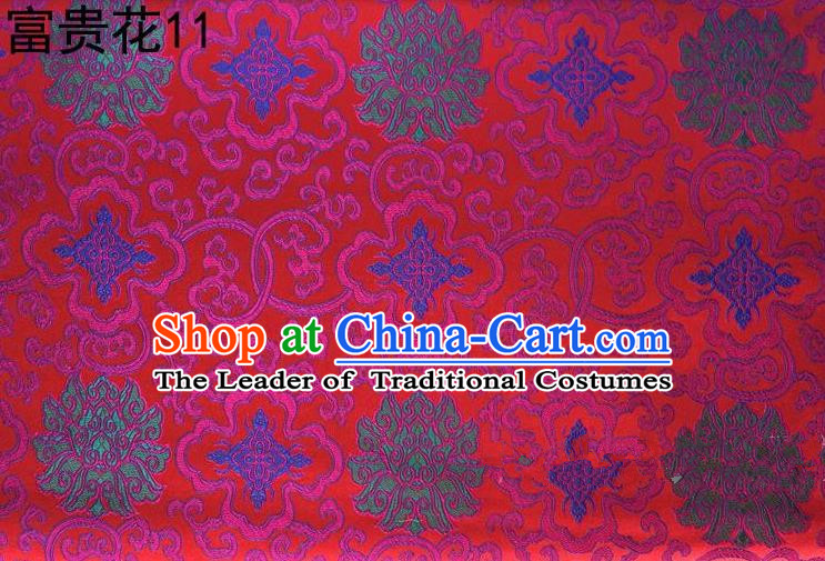 Asian Chinese Traditional Riches and Honour Flowers Embroidered Peacock Red Silk Fabric, Top Grade Arhat Bed Brocade Satin Tang Suit Hanfu Dress Fabric Cheongsam Cloth Material