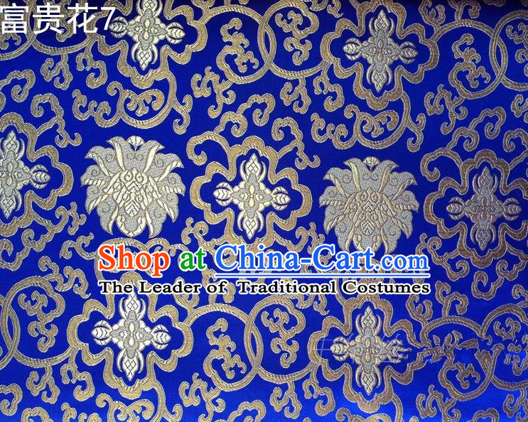 Asian Chinese Traditional Riches and Honour Flowers Embroidered Royalblue Silk Fabric, Top Grade Arhat Bed Brocade Satin Tang Suit Hanfu Dress Fabric Cheongsam Cloth Material