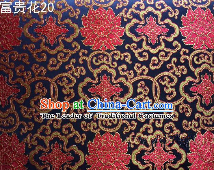 Asian Chinese Traditional Red Riches and Honour Flowers Embroidered Navy Silk Fabric, Top Grade Arhat Bed Brocade Satin Tang Suit Hanfu Dress Fabric Cheongsam Cloth Material