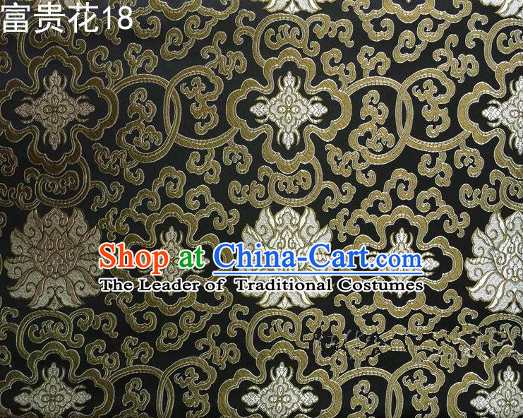 Asian Chinese Traditional Golden Riches and Honour Flowers Embroidered Black Silk Fabric, Top Grade Arhat Bed Brocade Satin Tang Suit Hanfu Dress Fabric Cheongsam Cloth Material