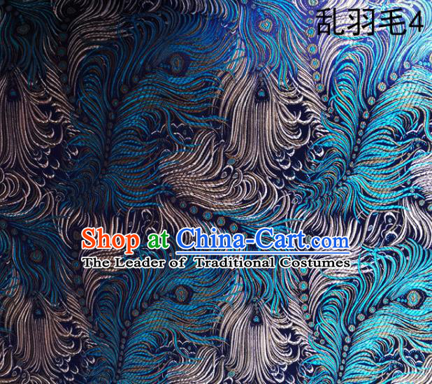 Asian Chinese Traditional Printing Feather Green Silk Fabric, Top Grade Arhat Bed Brocade Tang Suit Hanfu Dress Fabric Cheongsam Cloth Material
