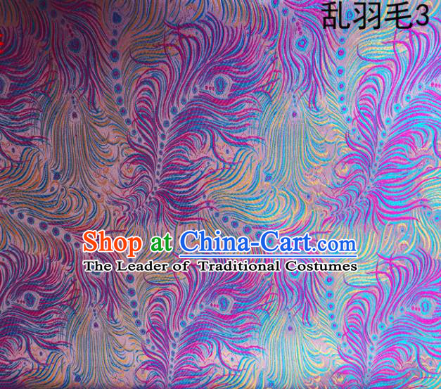 Asian Chinese Traditional Printing Feather Purple Silk Fabric, Top Grade Arhat Bed Brocade Tang Suit Hanfu Dress Fabric Cheongsam Cloth Material