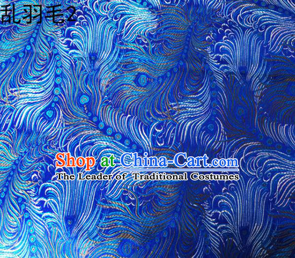 Asian Chinese Traditional Printing Feather Blue Silk Fabric, Top Grade Arhat Bed Brocade Tang Suit Hanfu Dress Fabric Cheongsam Cloth Material