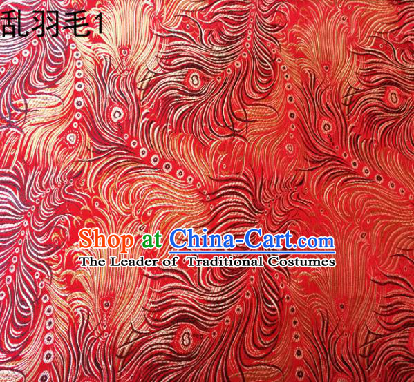 Asian Chinese Traditional Printing Feather Red Silk Fabric, Top Grade Arhat Bed Brocade Tang Suit Hanfu Dress Fabric Cheongsam Cloth Material