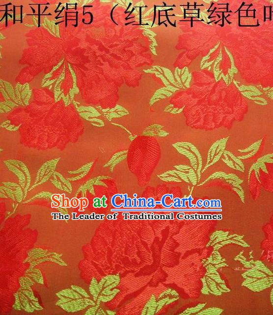 Asian Chinese Traditional Embroidered Red Flowers Orange Silk Fabric, Top Grade Arhat Bed Brocade Tang Suit Hanfu Dress Fabric Cheongsam Cloth Material