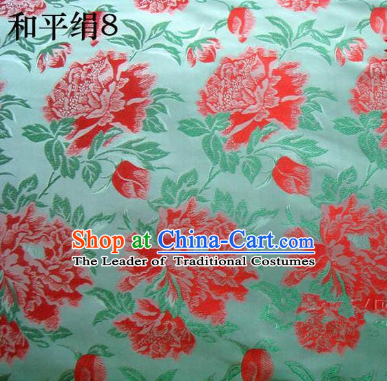 Asian Chinese Traditional Embroidered Red Flowers Green Silk Fabric, Top Grade Arhat Bed Brocade Tang Suit Hanfu Dress Fabric Cheongsam Cloth Material