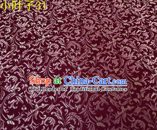 Asian Chinese Traditional Embroidered Wheat Flowers Amaranth Silk Fabric, Top Grade Arhat Bed Brocade Tang Suit Hanfu Dress Fabric Cheongsam Cloth Material