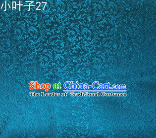 Asian Chinese Traditional Embroidered Wheat Flowers Blue Silk Fabric, Top Grade Arhat Bed Brocade Tang Suit Hanfu Dress Fabric Cheongsam Cloth Material