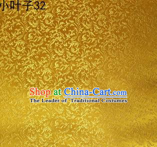 Asian Chinese Traditional Embroidered Wheat Flowers Golden Silk Fabric, Top Grade Arhat Bed Brocade Tang Suit Hanfu Dress Fabric Cheongsam Cloth Material