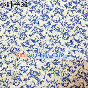 Asian Chinese Traditional Embroidered Blue and White Porcelain Wheat Flowers Silk Fabric, Top Grade Arhat Bed Brocade Tang Suit Hanfu Dress Fabric Cheongsam Cloth Material