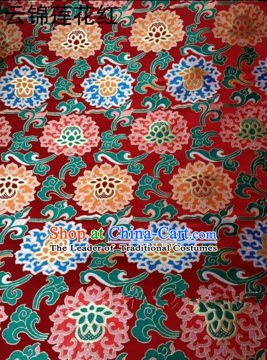 Asian Chinese Traditional Embroidered Flowers Red Brocade Silk Fabric, Top Grade Arhat Bed Satin Tang Suit Hanfu Dress Fabric Cheongsam Cloth Material