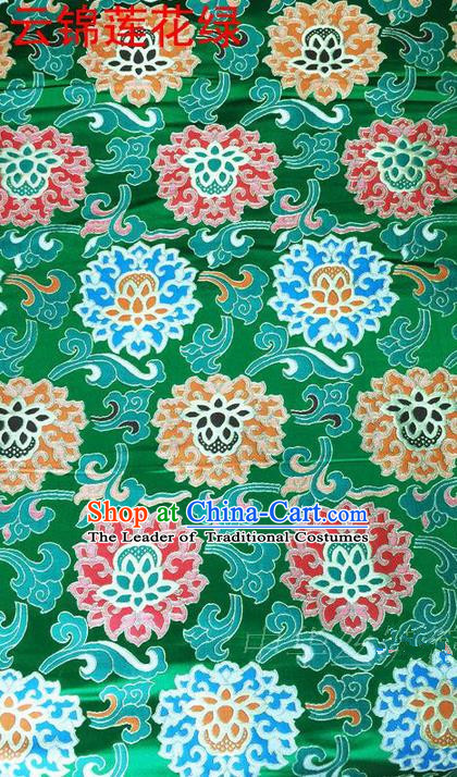 Asian Chinese Traditional Embroidered Flowers Green Brocade Silk Fabric, Top Grade Arhat Bed Satin Tang Suit Hanfu Dress Fabric Cheongsam Cloth Material
