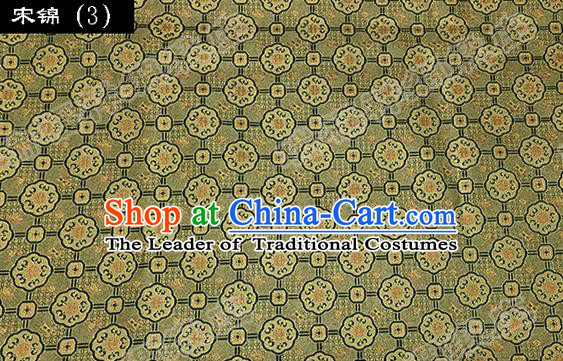 Asian Chinese Traditional Embroidered Flowers Golden Song Brocade Silk Fabric, Top Grade Satin Tang Suit Hanfu Dress Fabric Cheongsam Cloth Material