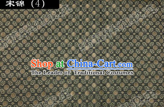Asian Chinese Traditional Embroidered Flowers Black Song Brocade Silk Fabric, Top Grade Satin Tang Suit Hanfu Dress Fabric Cheongsam Cloth Material